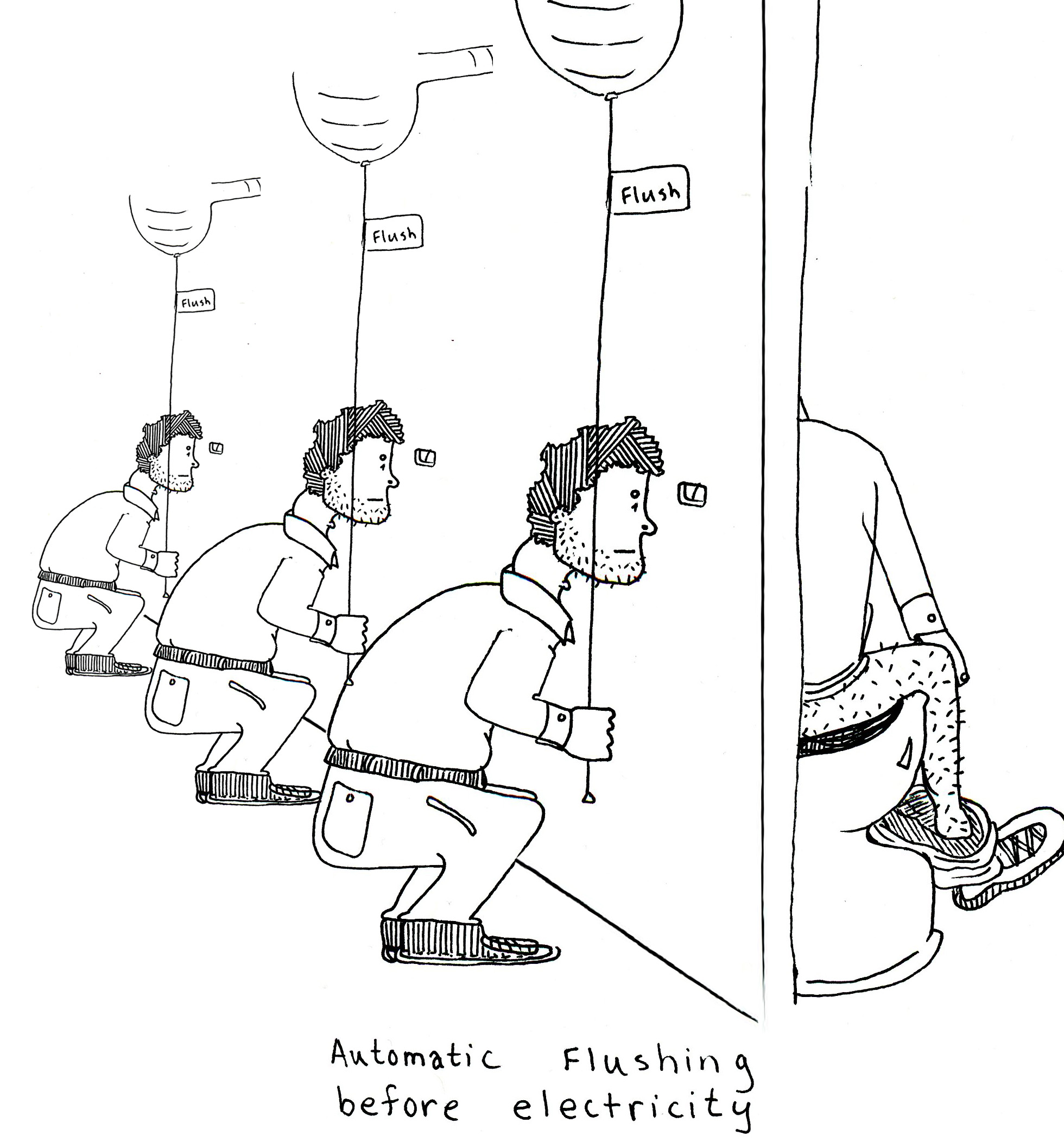 The Brown Jug: Automatic Flushing Before Electricity (Comic)
